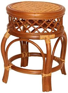 Handmade Round Stool Ginger ECO Natural Rattan Wicker ECO Plant Stand, Cognac