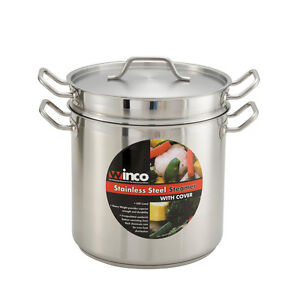 Winco SSDB-12S, 12-Quart Stainless Steel Cook Steamer & Pasta Cooker With Cover,