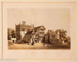 2 Antique Lithographs Country Houses Lancashire England by M. amp; N. Hanhart $80.00