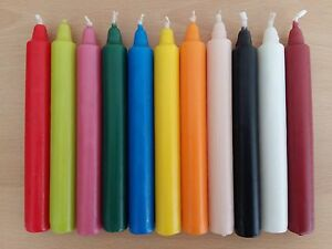 Box Of 25 Table Candles 7hr Burn Tapered Non Drip Various Colours Great Value!