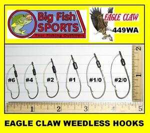 EAGLE CLAW Weedless Fishing Hooks 40 Pack #20 SZ #449WA