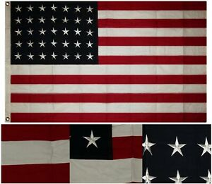 3x5 Embroidered Sewn 35 Star Linear Great Union USA Cotton Flag 3'x5' 2 Clips