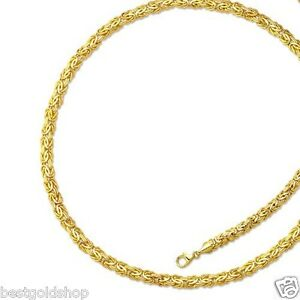 6mm All Polished Byzantine Bracelet Chain Necklace Set Real 14K Yellow Gold
