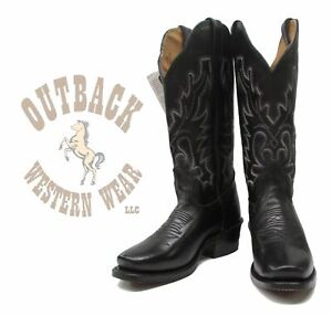 Boulet Women's Outback Exclusive Black Square Cutter Toe Boots 3166X