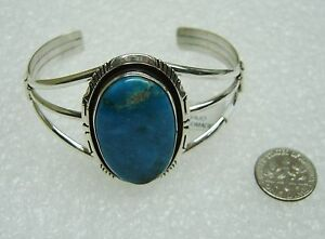 NEW NAVAJO STERLING SILVER TURQUOISE CUFF BRACELET SIGNED ELOUISE KEE N369-I