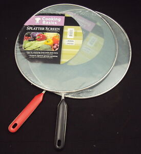 Spatter Screen / Grease Guard ~ Fine Mesh Metal Screen w/Handle ~ Fits Most Pans
