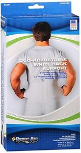 Sport Aid Back Support Duo-Adjustable White XSSM 1 Each (Pack of 8)