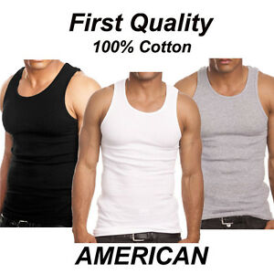 Pack of 3 Mens 100% Cotton Tank Top A Shirt Wife Beater Undershirt Ribbed Muscle $10.95