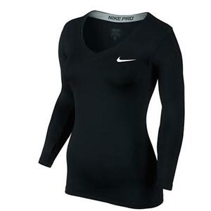 Nike Pro V-Neck Women's Training Running LS Shirt Compression Tee Black