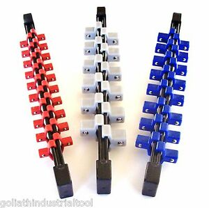 3PC GOLIATH INDUSTRIAL ABS DOUBLE SIDED SOCKET RAIL HOLDER ORGANIZER 1 4 3 8 1 2