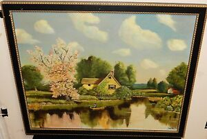 ANALEE FISHING ON A PRIVATE LAKE ORIGINAL OIL ON CANVAS PAINTING