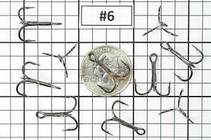 50x #6 Treble Fishing Hooks 2X Strong Sharpened Carbon Steel Jig Lure BN USA!