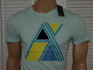 Armani Exchange Authentic 3D Tri Geo T Shirt Frosted Mint NWT