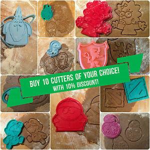 Ten Cookie Cutters of You Choice! with 10% discount! Plastic 3d printed (PLA)