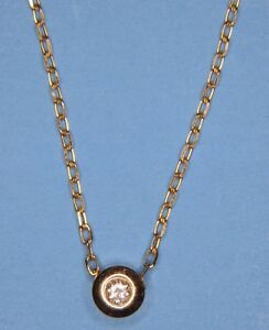 Beautiful Solid 14K Yellow Gold Genuine Diamond Floating Pendant w 18