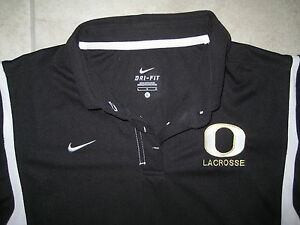 NIKE DRI FIT NWT Lacrosse Oregon Ducks Football Golf Black Large Polo Knit Shirt