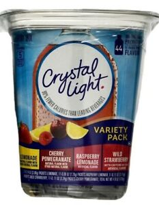 Crystal Light Variety Lemonade Raspberry Strawberry Cherry, 44 Packets Each Box
