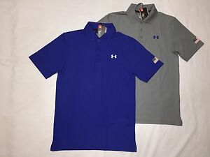 NWT UNDER ARMOUR MEN'S USA FLAG HEAT GEAR GOLF LOOSE FIT POLO SHIRTS