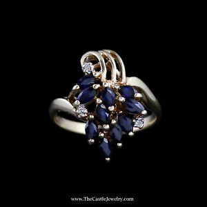 Charming Marquise Sapphire Cluster Ring w Diamond Accents in 10k Yellow Gold
