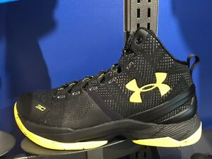 Under Armour UA Curry 2 Black Knight Gold Yellow Sz 11c-7y GS PS Boys Kids MVP