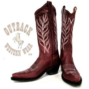 Jama Old West Women#x27;s Snip Toe Red Boots LF1574