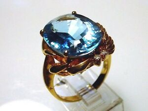 Charming Blue Topaz Solid 14 kt Gold Ring Stunning Looking Attractive (#2003)