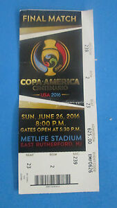COPA AMERICA CENTENARIO -FINAL MATCH JUNE 262016 TICKET STUB- CHILE-ARGENTINA