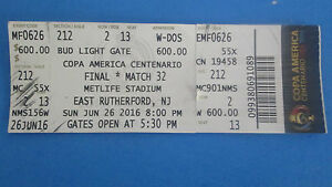 2016 COPA AMERICA CENTENARIO FINAL MATCH- CHILE OVER ARGENTINA TICKET STUB