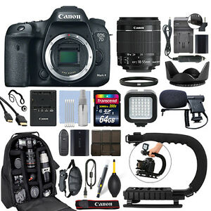 Canon EOS 7D Mark II DSLR Camera with 18-55mm IS STM Lens + 64GB Pro Video Kit