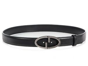 GUCCI Black Leather Oval Belt Size 95 38 ~ A streamlined spin on the GG design!