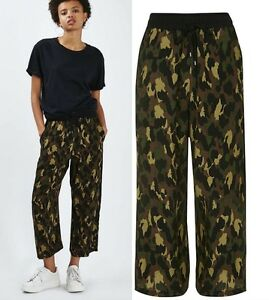 DESIGNER CAMOUFLAGE PRINT WIDE LEG CROPPED TROUSER CULOTTES SIZES 4 to14