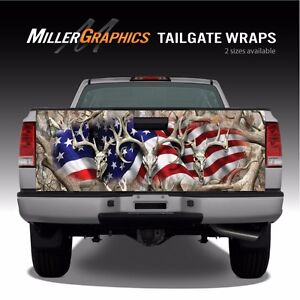 Buck Deer Skull Flag Camo quot;Obliterationquot; Truck Tailgate Vinyl Graphic Decal Wrap
