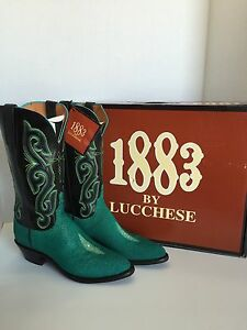 1883 by LUCCHESE - N7870J4 Exotic Teal StingrayBlack Buffalo - Women's size 8B
