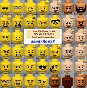 LEGO MALE Minifigure Heads PICK YOUR STYLE Yellow Flesh Faces People Town $1.49