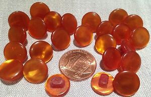 24 Small Pearlized Burnt Orange Plastic Shank Buttons 7/16
