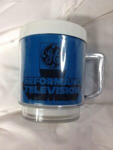 Vintage Blue Plastic General Electric GE Performance Television Coffee Cup $6.00