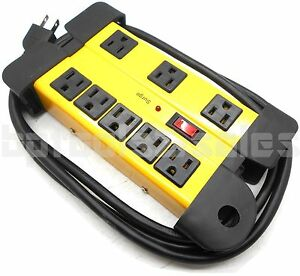 8 Outlet Power Strip Surge Protector w Metal Housing Charging Station Electronic