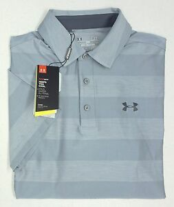 NWT Under Armour UA Heat Gear UPF 30 SS Grey Shirt Mens SM 2XL Loose Fit UA Logo