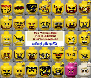 LEGO MALE Minifigure Heads PICK YOUR STYLE Yellow Print Faces Head People $1.29