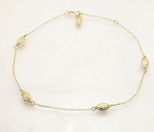 Adjustable Cable Chain Puffed Bullet Ankle Bracelet Anklet Real 14K Yellow Gold