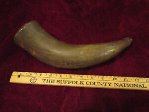 PERIOD POWDER HORN - CIRCA 1824 - MULTIPLE CARVINGS SIGNED