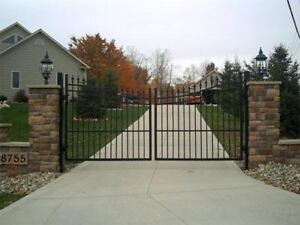 Wrought Iron OR ALUM: DOUBLE  DRIVE WAY GATE POWER COAT FINISH BLACK (IN STOCK)