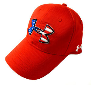 NEW Under Armour Heat Gear Performance USA Flag Logo Adjustable Red Golf Hat