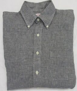 Brooks Brothers 100% Irish Linen Micro Hound's Tooth Check Sport Shirt Size S