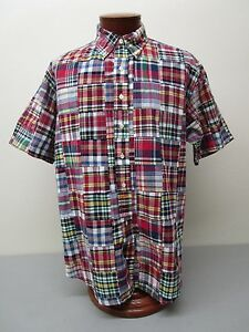 Brooks Brothers Traditional Fit Button Down Madras Patchwork Plaid Sport Shirt L
