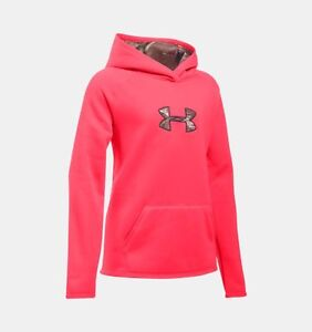 Under Armour Girls Icon Caliber Hoodie-LG-Pink ChromaRealtree Xtra-#1286595-NWT