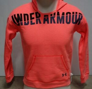 Under Armour Girls Favorite Fleece Hoodie-YLG-Pink ChromaBlack-#1281133 -NWT!