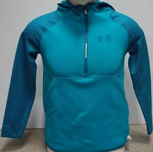 Under Armour Girls Fleece Printed 12 Zip Hoodie-YLG-Teal Blast-#1281112-NWT!