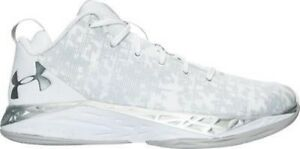 Men's Under Armour Fire Shot Low Basketball Shoes WhiteSilver 1279548 100