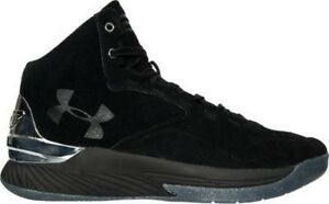 Under Armour Curry 1 Lux Mid Suede Basketball BlackMetallic Silver 1296617 001
